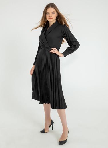 Foremia Atlas Kol Ve Eteği Piliseli Ceket Yaka Elbise Siyah